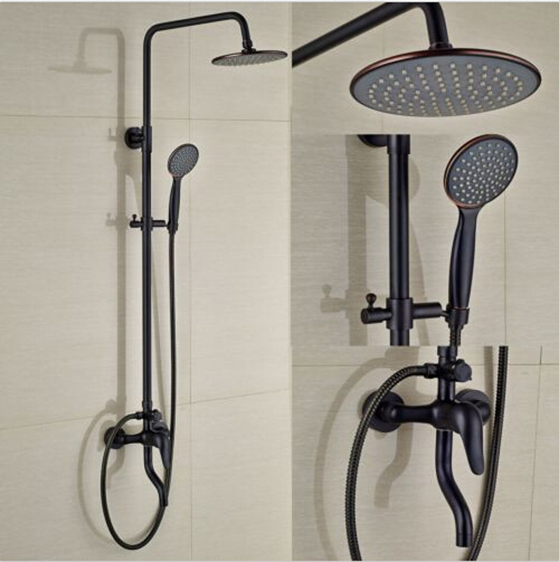 Wall Mounted Oil Rubbed Broze Shower Set Rainfall Round Shower Head Hot&Cold Mixer Faucet