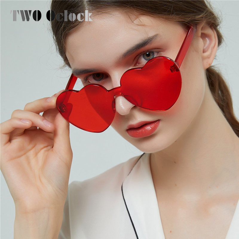 TWO Oclock Love Heart <font><b>Sunglasses</b></font> Women Vintage Red Eyewear <font><b>Cute</b></font> <font><b>Sexy</b></font> <font><b>Retro</b></font> <font><b>Cat</b></font> <font><b>Eye</b></font> Cheap Sun Glasses UV400 Female Oculos 8D008 image