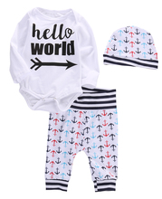 3pcs!!Toddler Baby Boys Girls Anchor 100% Cotton Long Sleeve Tops Romper Pants Hat Outfits Clothes Set