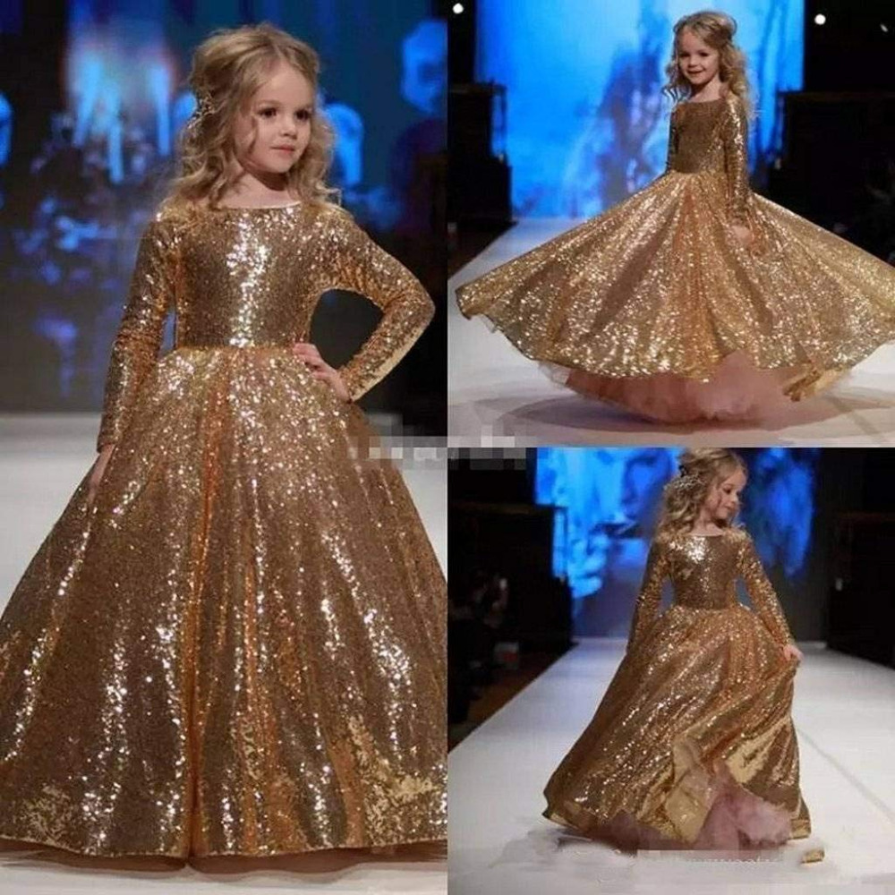 New Arrivals Gold Sequins   Flower     Girls     Dresses   Shiny Puffy Ball Gowns Little   Girls   Pageant Gowns Princess   Dresses   Long Sleeves