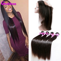 Brazilian 360 Lace Frontal With Bundle Brazilian Straight Hair With Closure Straight Virgin Hair 3 Bundles With Frontal Clsoure