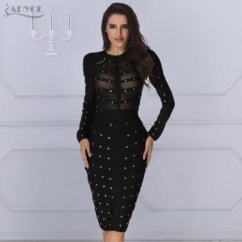 09923158f85a Женское бандажное вечернее платье ADYCE, черное платье в стиле  знаменитостей с ...
