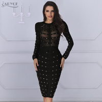 2015 New Women Long Sleeve Studded Olive Mesh High Neck Black Nude Bodycon Knee Length Celebrity