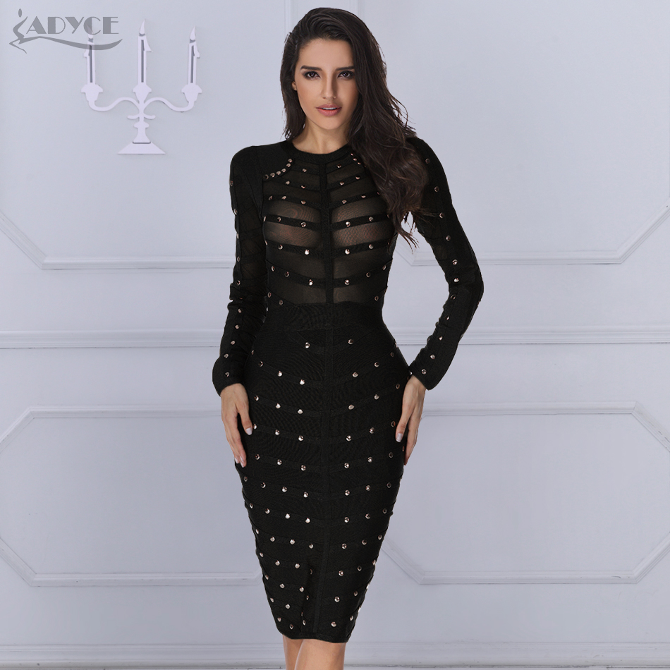 ADYCE 2019 New Black Bandage Dress Women Spring Celebrity Party Dress Long Sleeve Olive Mesh Gray Red Midi Bodycon Club Dresses