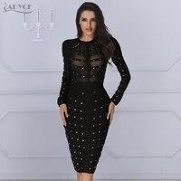 New Bandage Dress 2018 Women winter Celebrity party Dress Long sleeve Olive Mesh Black Gray Red Knee length Bodycon Dresses