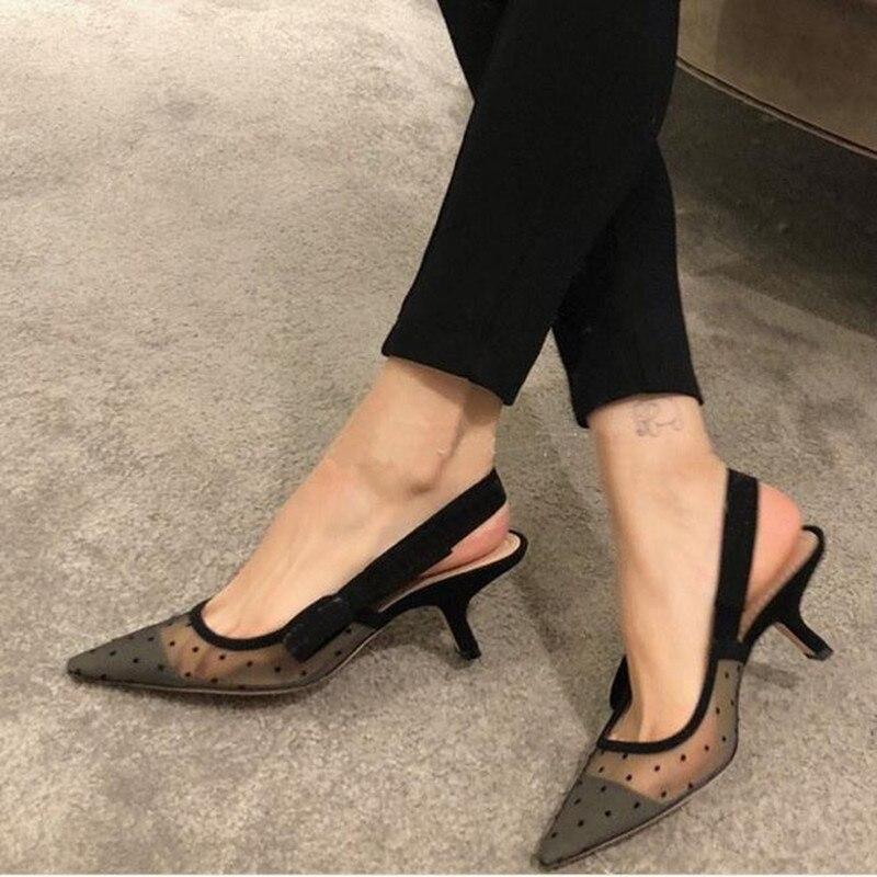 Mode sexy chaussures pour femmes à talons hauts pointe noire respirant maille sandales femmes talons minces sandales