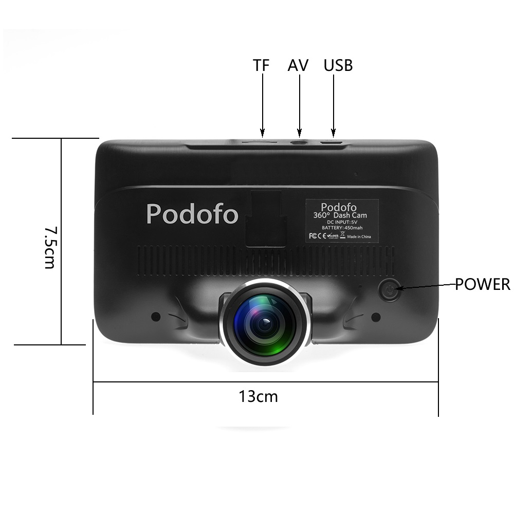 produs podofo 360 degree panoramic car dvr camera dual lens with rear view registrar cameras. Black Bedroom Furniture Sets. Home Design Ideas