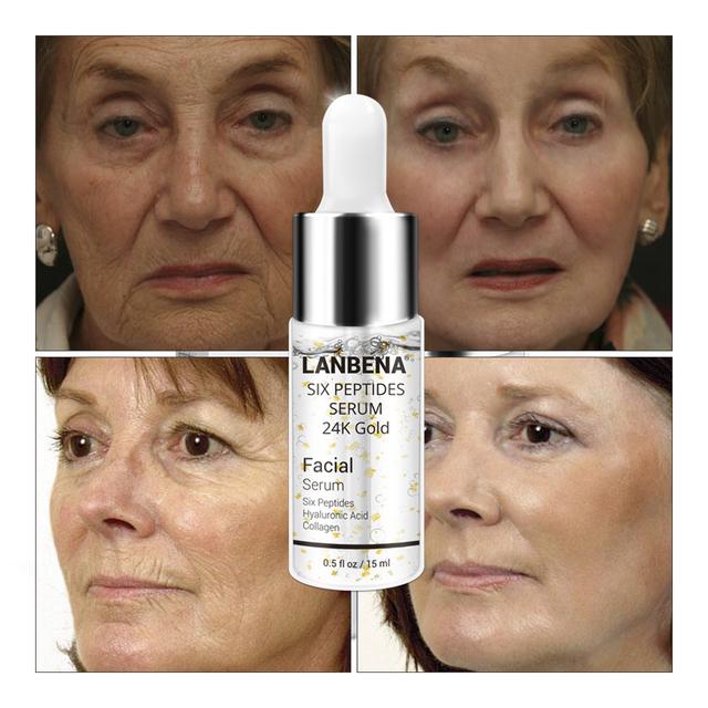 LANBENA 24K Gold Six Peptides Serum Face Cream Anti-Aging Wrinkle Lift Firming Whitening Moisturizing Acne Treatment Skin Care