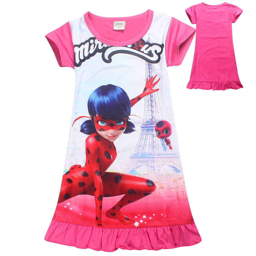 f5ea3f716152 2018 Cartoon casual Clothes Kids Short Sleeve Dress Miraculous Lady Bug  Dresses little Girls Summer Evening Party Clothing mask bag undefined.  894-3.jpg