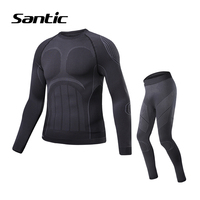 Santic Cycling Base Layer Men Long Sleeve Autumn Winter Thermal Sport Underwear Outdoor Running Fitness Base Layer Ropa Ciclismo