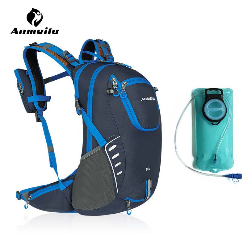 Anmeilu 20L Bicycle Backpack With Helmet Net Rain Cover 2L Bike Water Bag Waterproof Outdoor Cycling Hiking Hydration Backpack anmeilu men women 8l outdoor sports water bag waterproof climbing camping hiking hydration bag cycling bicycle bike backpack