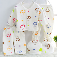 2017 Wholesale 5pcs Set Fashion Cotton Newborn Baby Clothing Set Full Sleeve Spring Boy Mushroom Print