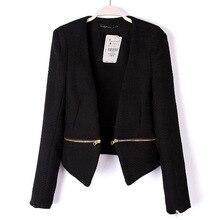 2016 новая весна тонкий черный пиджак женский пиджак тонкий дизайн пр женская съемный v-образным вырезом молния диких пальто 1054
