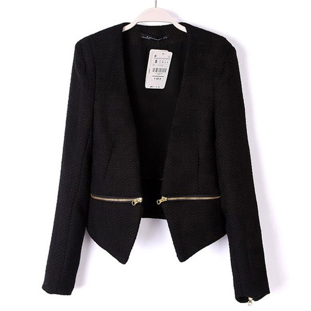 2016 nova primavera magro Blazer preto feminino paletó magro curto projeto OL mulheres de removível V - neck Zipper casaco selvagem 1054
