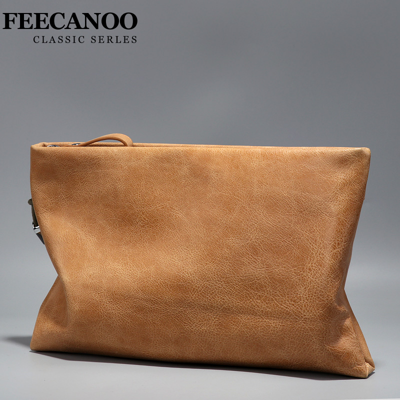 FEECANOO 2018 Cowhide Men Clutch Wallets Genuine Leather Long Purses Business Large Capacity Wallet Zipper Phone Bag For Male luxury genuine leather men wallets large capacity cowhide men clutch phone bag purse zipper vintage long wallet casual hand bags