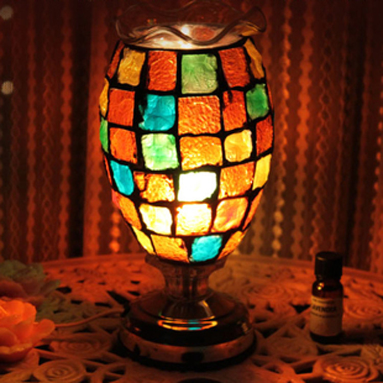 The new color glass now desk table lamp complex antique mosaic burner plug lamp wedding oil lamp philips powerlife plus gc2984 20