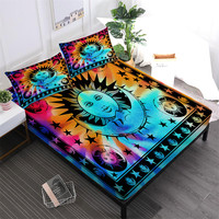 Tie Dyeing Cartoon Sheet Set Bohemia Colorful Sun Moon Print Bed Linens Flat Sheet Deep Pocket Fitted Sheet Pillowcase 3/4Pcs