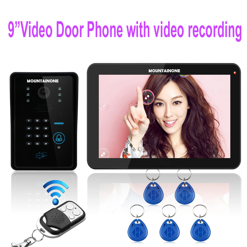 MOUNTAINONE 9 Touch Key Video Door Phone with Video Recording function,1000TVL Outdoor Camera Password&ID Card unlocking