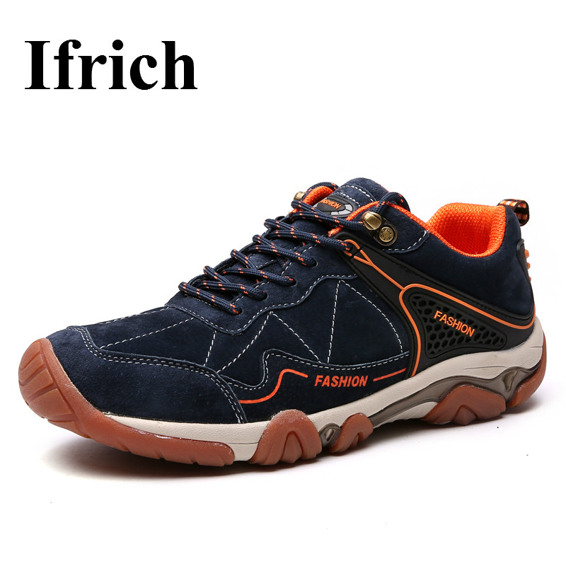 Ifrich Hiking Shoes Men Outdoor Boots Leather Mountain Trekking Sneakers Mens Spring/Autumn Hunting Shoes Brand Hiking Trainers ifrich hiking shoes men outdoor climbing trekking sneakers spring autumn mountain walking shoes leather blue gray hunting boots