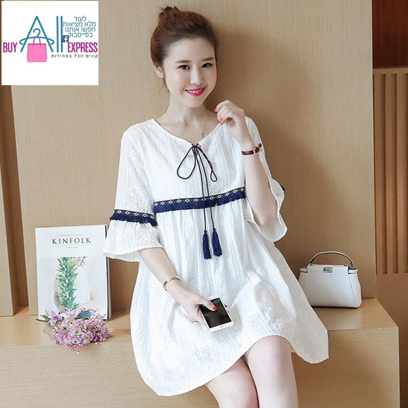 2017 maternity spring and summer new cotton and linen embroidery horn sleeve pregnant women dress