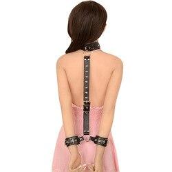 Pu кожаная лямка шеи бандаж Связывание Фетиш задняя манжета секс-игрушки для женщин Эротическое белье Косплей наручные манжеты