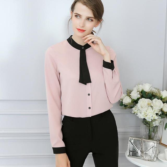 9faaff739 2018 nueva moda gasa camisa de las mujeres blusa Camisas mujer blanco rosa  blusa más tamaño
