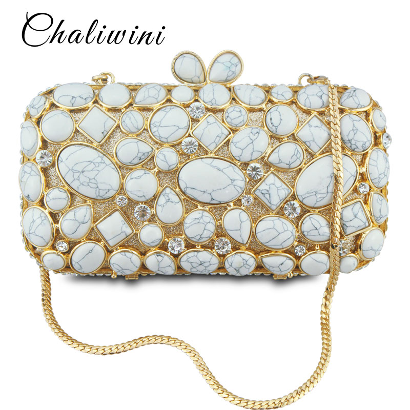 Natural Stone Women Luxury Crystal Evening Bags Bridal Wedding White Clutch Purse Hardcase Gold Metal Party Shoulder Handbag natural women diamond luxury crystal evening bags bridal wedding clutch purse hardcase gold metal party shoulder handbag