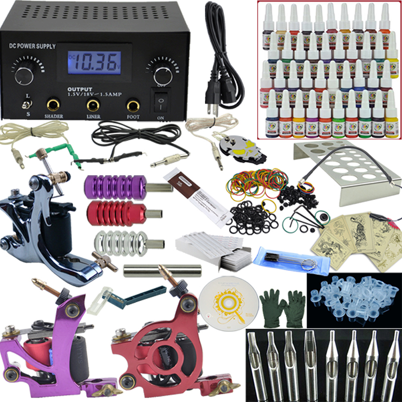 OPHIR 380pcs PRO Complete Tattoo Kit 3 Tattoo Machines Guns 40 Colors Ink Pigment Tattoo Supply Power Needles Nozzles Set_TA005 ophir 354pcs complete tattoo kit for body art with 4 electric tattoo guns 12 ink pigment grip tattoo needles nozzles set ta091