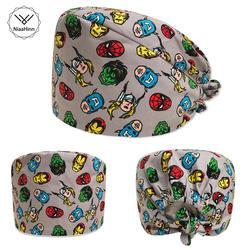 Niaahinn Мужская хирургическая медицинская Кепка s Женская хлопковая Стоматологическая шапочка с принтом унисекс высокое качество домашних