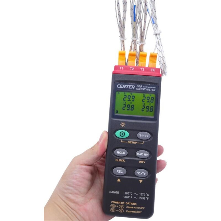 CENTER-309 Digital K Type Industrial Thermocouple Thermometer, 4 Inputs, 16000 Records Datalogger