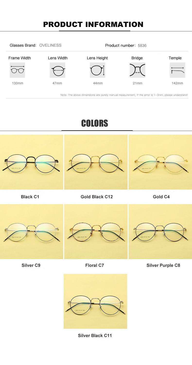 094117827c Metal Eyeglasses Frames Women Classic Optical Prescription Eyeglass Round  Frame Clear Lens Reading Glasses Ultra Light Frames. 5836-02 5836-04 ...