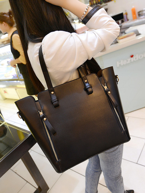Women s handbag big bags 2015 women black handbag autumn and winter one  shoulder bag lady women pu leather messenger size bag fccc23c50b