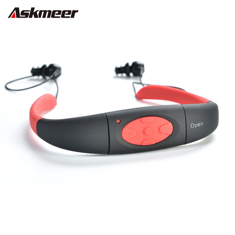New Askmeer 3M Waterproof Sport Stereo 4GB MP3 Player Headset with FM Radio Rechargeable Mp3 Music