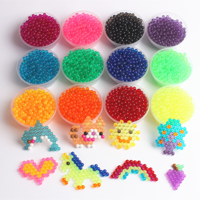 1200PCS/Set Crystal Transparent Water Beads 3D Puzzles Toys 12 Colors Water Sticky Beads Educational Toys For Children Juguetes