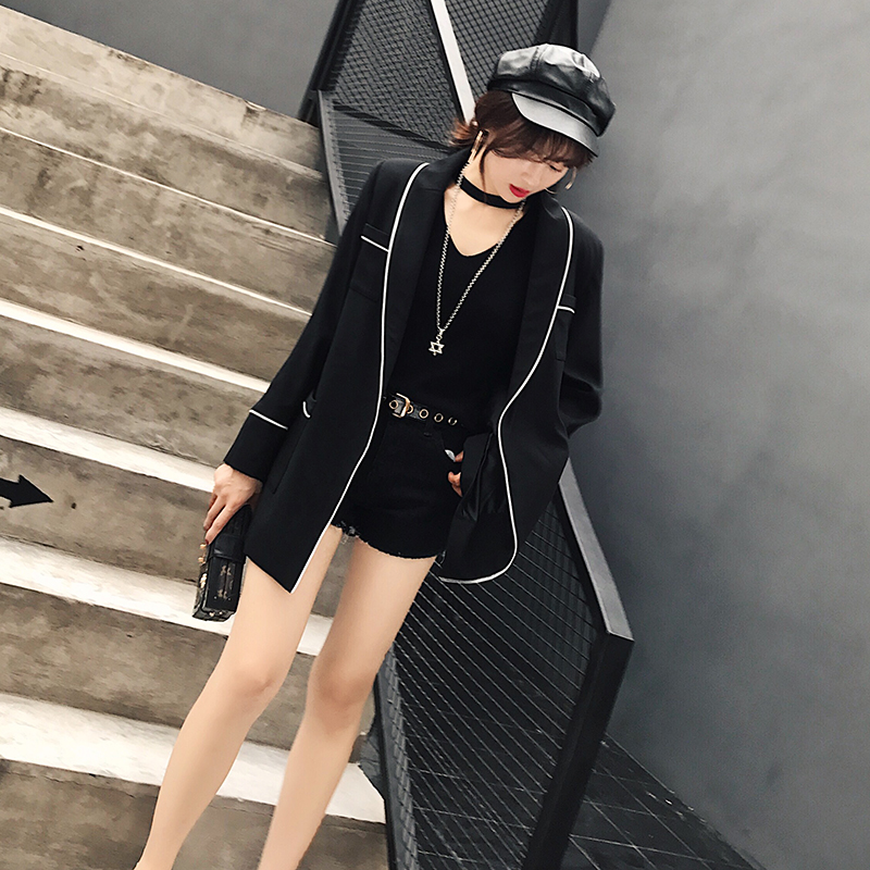 Spring 2019 Lady Long Office Black Blazers New C91433j Coat Pockets Women Solid Sleeve Hidden Notched Breasted Sashes qwHw16OFx