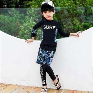 Image 4 - 2020 Fashion rashguard kids swimwear big child two/three sun protection uv shirt+shorts+pants swim surf suit boy/girl 85 165CM