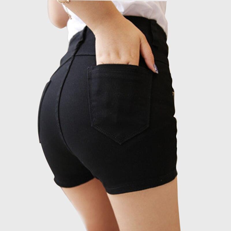 2017 New Spring High Waist Denim Shorts Women Casual Black -7967