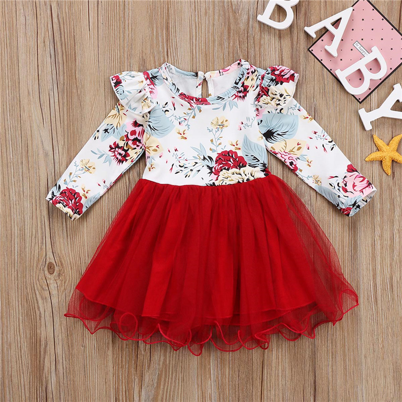Outfits-Set Dress Tutu Red Tulle Long-Sleeve Floral-Ruffle Toddler Baby-Girl Kid Brand-New
