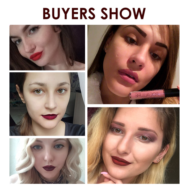 FOCALLURE Waterproof Long-lasting Lip Gloss Pigment Dark Purple Black Red Velvet Matte Liquid Lipstick 4