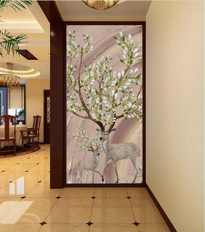 3D Wallpaper Embossed mural Nordic Stereo Deer Floral Backdrop Living Room Bedroom TV mural wallpaper for walls 3 d pink romantic sakura reflection large mural wallpaper living room bedroom wallpaper painting tv backdrop 3d wallpaper