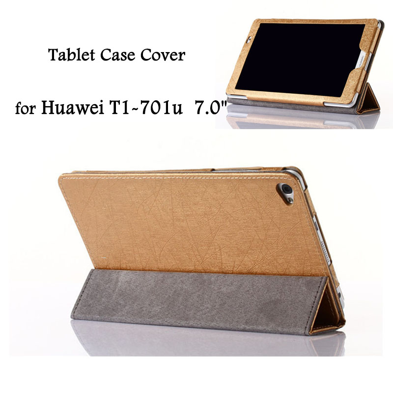 7 PU Leather Sleeve Tablet Case Cover for Huawei MediaPad T1-701u 7.0 Flip Stand Protective Tablets Case