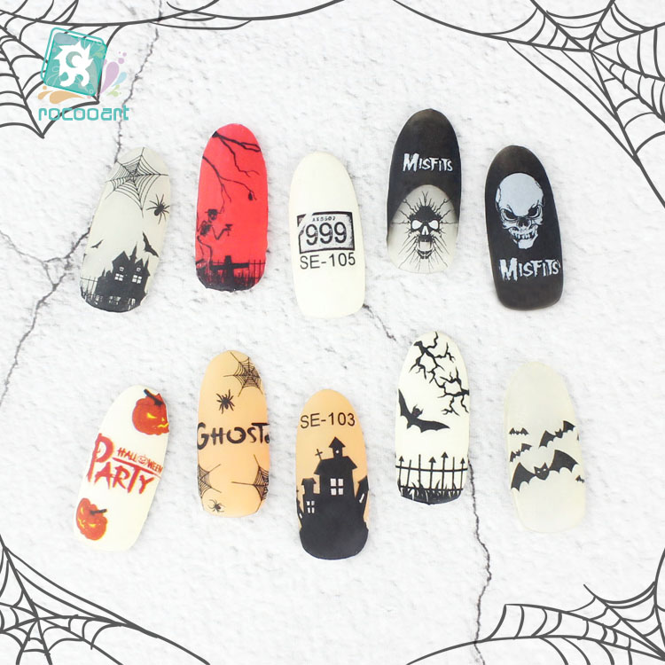 Rocooart Halloween Nail Art Stickers DIY Adhesive Foil ...