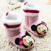 2015 Winter Newest Baby Girls Pink Boots Soft Cloth Bottom Babies Shoes Cartoon Characters First Walkers