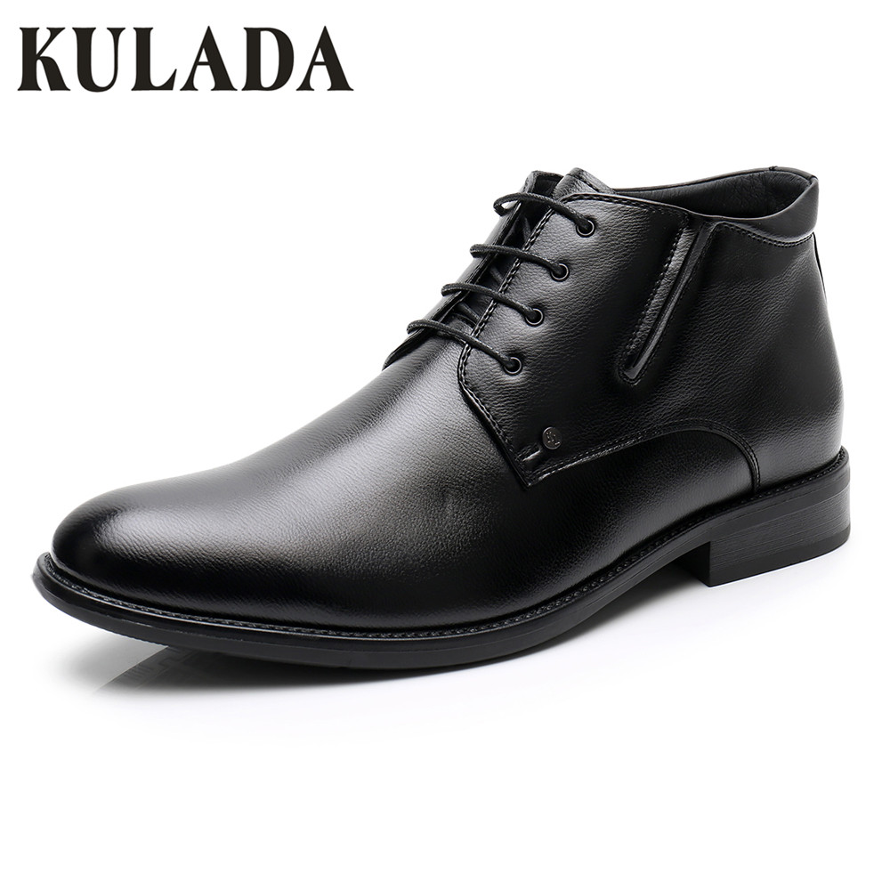 KULADA New Boots Men Winter Leather Ankle Boots Men Lace Up Dress Business Boots Handmade Man Snow Warm Boots Men Winter Shoes