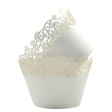 METABLE Pack of 50 Cupcake Wrappers Pink Filigree Artistic Bake Cake Paper Cups Little Vine Lace Laser Cut Liner Baking Cup