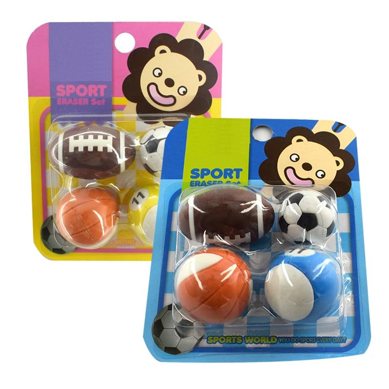 Funny Balls Rubber Erasers Set Novelty Pencil Eraser For Kids Gift Gomas De Borrar Stationery Borracha Fofa Borrachas De Escola