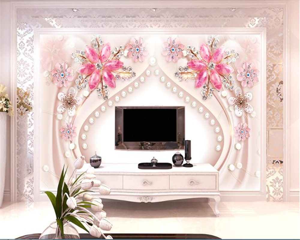 Beibehang Papel De Parede Hudas Beauty 3  Three-dimensional Floral Jewelry Gems Background Wall Decorative Painting Wallpaper
