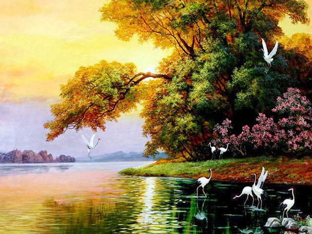 Us 1 18 5d Diamond Embroidery Natural Scenery Diamond Painting Birds Cross Stitch Full Crystal Wall Painting Christmas Gift In Diamond Painting