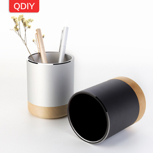 Student Desktop Decoration Office Metal Aluminum Alloy Beech Wood Wooden Pen Holder Brush Pot Pencil Vase Pen Storage