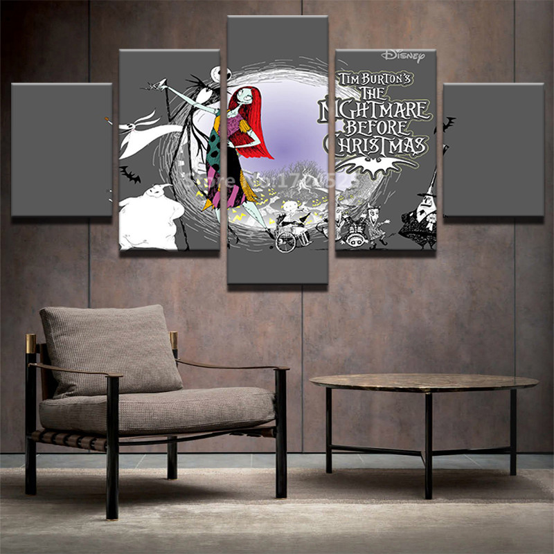 aliexpresscom buy 5 pieces nightmare before christmas home decor unframe modern hd printed canvas painting christmas pictures wall art paintings from